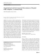 Organizational and environmental determinants of hospital EMR adoption a national study
