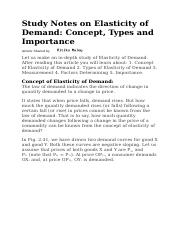 Study Notes on Elasticity of Demand.docx
