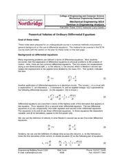 Lecture on Numerical Solutions of Ordinary Differential Equations