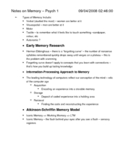 Notes on Mechanisms of Memory