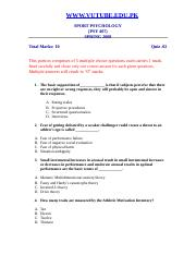 Sport Psychology - PSY407 Spring 2008 Assignment 04