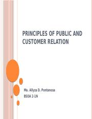 PRINCIPLES OF PUBLIC AND CUSTOMER RELATION PONTAÑOSA