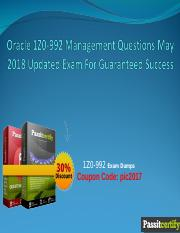 Oracle 1Z0-992 Management Questions May 2018 Updated Exam For Guaranteed Success.ppt