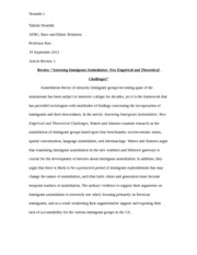 "Article Review-""Assessing Immigrant Assimilation: New Empirical and Theoretical Challenges"""