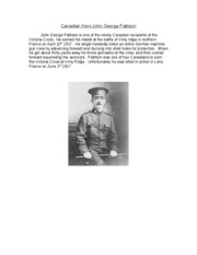 history Canadian Hero John George Pattison