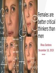 Females are better critical thinkers than men pp presentation.pptx
