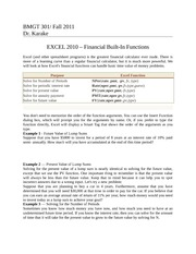 BMGT 301 -Financial Functions