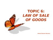 Topic 6 - Sale of Gooods