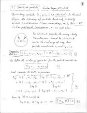 Physics 365_Class Notes on Quantum Theory of Many-Particle Systems in Coordinate Space and in Occupa