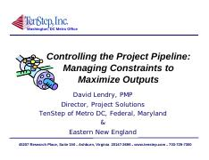 Controlling the Project Pipeline - 10 Step