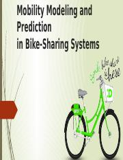 Mobility Modeling and Prediction ca