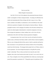 waverly and lindo jong s struggle to cultural balance in the  3 pages mother and daughter in joy luck club paper