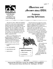 H5 - Questions and Answers about IDEA - Purposes and Definitions