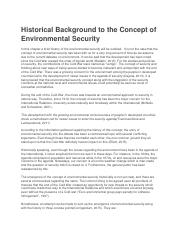 Historical Background to the Concept of Environmental Security.docx