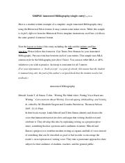 SAMPLE Annotatd Bib using rhet precis