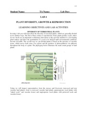 Lab 4 - Plant Diversity, Growth and Reproduction