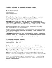 Psychology- Study Guide- The Dispositional Approach to Personality
