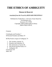 4 de Beauvoir - The Ethics of Ambiguity [Excerpts]