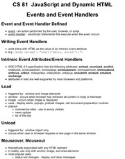 CS81 JS Events and Event Handlers