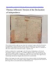 Thomas Jeffersons Version of the Declaration of Independence