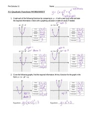 Quadratic Functions Worksheet Answers Pre Calculus 11 Name 3 1 Graph Each Of The Following By Comparing To Y