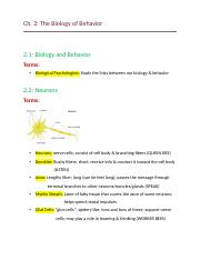 Ch. 2- The Biology of Behavior .docx