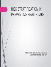 Risk Stratification in Preventive Healthcare Online Updated