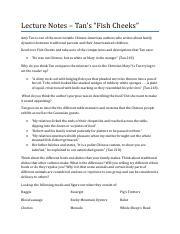 Amy Tan Fish Cheeks.pdf - Lecture Notes Tans Fish Cheeks ...