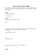Review of Some Linear Algebra