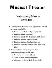 Intro to theater Musical Theater  contemp10