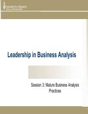 Session 3 LBA - Mature Business Analysis Practices