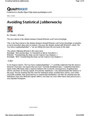 Article - (5) Wheeler - Avoiding Statistical Jabberwocky