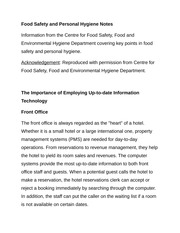 Food Safety and Personal Hygiene Notes