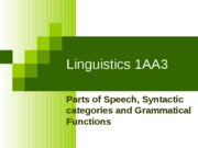 LINGUISTICS Parts of Speech etc Review
