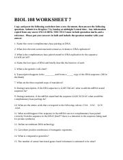 BIOL 108 WORKSHEET 7
