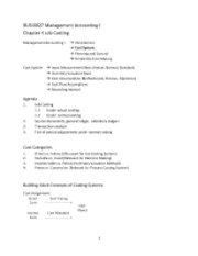 BUSI0027 Management Accounting I Chapter 4 Job Costing