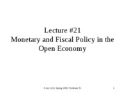 Monetary and Fiscal policy in the open economy
