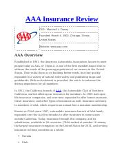 Aaa Insurance Reviews >> Aaa Insurance Review Docx Aaa Insurance Review Ceo