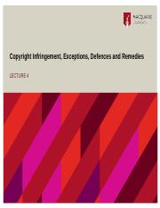 Lecture 4 - Infringement, Exceptions, Defences and Remedies (2).pptx