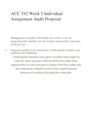 ACC 542 Week 5 Individual Assignment Audit Proposal