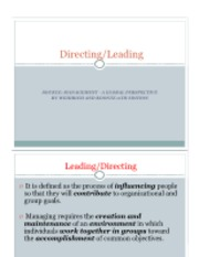 Part 4 - Leading & Directing