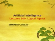 AI Spring 2010 Lecture 8-9