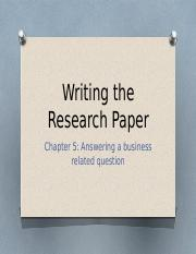 3 Writing the research paper