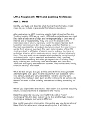 MBTI and Learning Preference