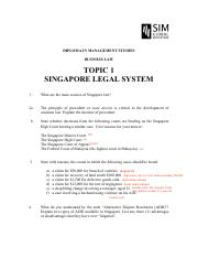 BUS015_2014_TOPIC 01_SporeLegalSystem