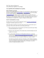 MGT 2210 Written Assignment #1 Constitutional Law and Legislation
