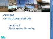 Lecture 1- Introduction Site Layout Planning