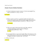 Density Practice Problems Docx Name Ketsia Limexant Density Practice Problem Worksheet 1 A Block Of Aluminum Occupies A Volume Of 15 0 Ml And Weighs Course Hero