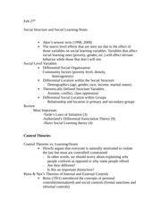 Social Structure and Social Learning Notes