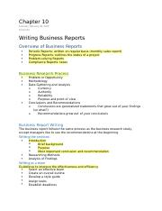 Chapter 10 Writing Business Reports